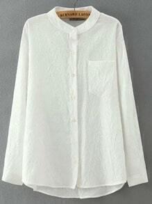 White Stand Collar Pocket Dip Hem Blouse