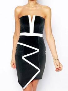 V Cut Color Block Asymmetrical Tube Dress