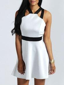 White Halter Criss Cross Back Skater Dress