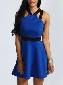 Royal Blue Halter Criss Cross Back Skater Dress