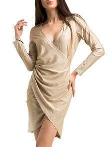 Apricot Deep V Long Sleeve Wrap Dress