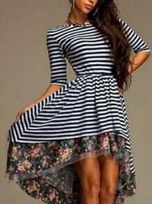 Striped Deep V Cut Back Floral Hem High Low Dress