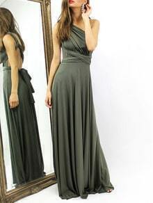 Green Criss Cross Back Infinity Wrap Dress
