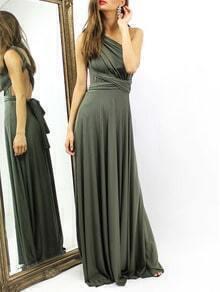 Green Criss Cross Back Infinity Wrap Dress