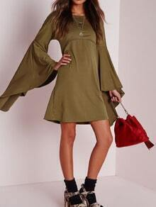 Army Green Bell Sleeve Tunic Dress