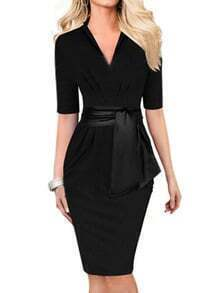 Black V Neck Sash Wrap Business Dress