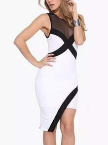 White Mesh Insert Asymmetrical Bodycon Dress