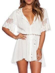 White V Neck Lace Trim Drawstring Beach Dress