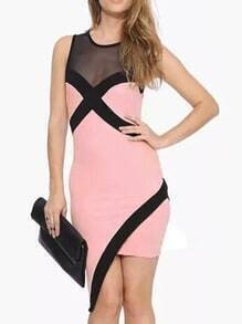 Pink Mesh Insert Asymmetrical Bodycon Dress
