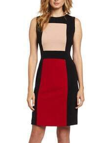 Round Neck Sleeveless Patchwork Sheath Dress