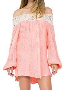 Pink Off The Shoulder Bell Sleeve Shift Dress