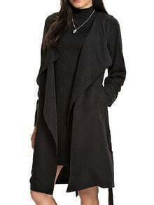 Black Knee Length Wrap Coat
