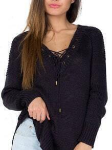 Black Lace Up Embellished V Neck Split Sweater
