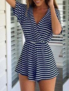 Blue and White Striped V Neck Jumpsuit