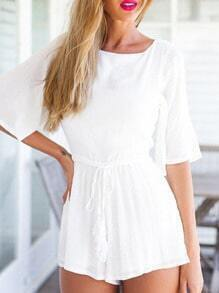 White Scoop Neck Bow Back Backless Jumpsuit
