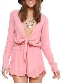 Pink Long Sleeve Deep V Wrapeed Jumpsuit