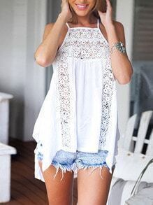 White Lace Hollow Out Tank Top