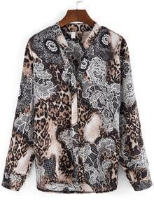 Apricot Stand Collar Leopard Floral Blouse
