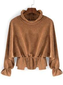 Khaki High Neck Batwing Sleeve Crop Blouse