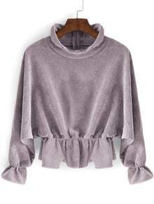 Grey High Neck Batwing Sleeve Crop Blouse