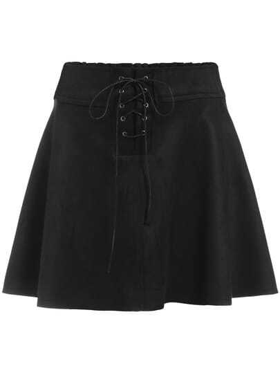 Black Lace Up Flare Skirt
