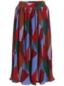 Colour Pleated Long Skirt