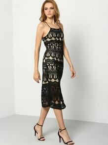 Black Slip Sheer Mesh Lace Dress