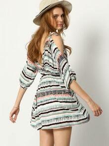 Colour Cold Shoulder Striped Dress