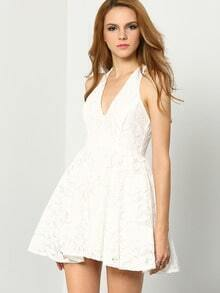 White V Neck Backless Lace Dress