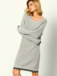 Grey Round Neck Loose Sweater Dress