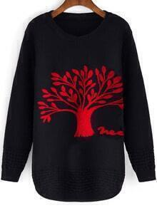 Black Round Neck Tree Patterned Loose Sweater