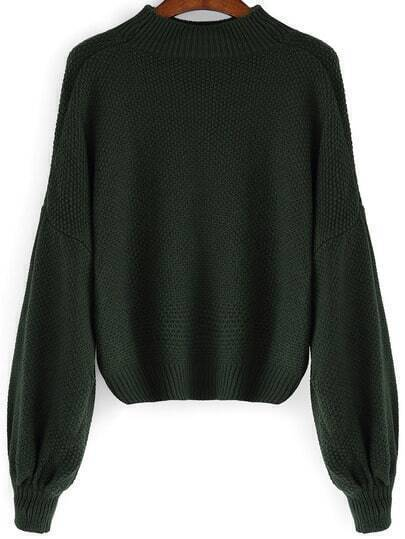 Green Mock Neck Lantern Sleeve Crop Sweater