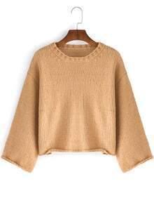 Khaki Round Neck Crop Sweater