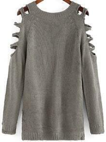 Grey Round Neck Hollow Long Sleeve Loose Sweater