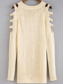 Apricot Round Neck Hollow Long Sleeve Loose Sweater