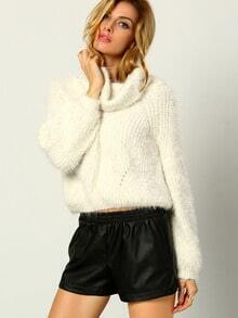 White High Neck Shaggy Crop Sweater