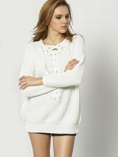 White Long Sleeve Lace Up Loose Sweater