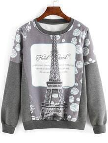 Grey White Round Neck Eiffel Tower Print Sweatshirt