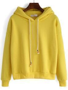 Yellow Hooded Drawstring Loose Crop Sweatshirt