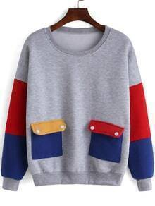 Colour-block Round Neck Pockets Sweatshirt