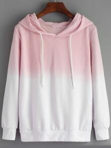 Pink White Ombre Hooded Loose Sweatshirt