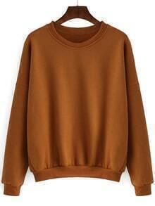Khaki Round Neck Loose Crop Sweatshirt