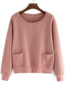 Pink Round Neck Pockets Crop Sweatshirt