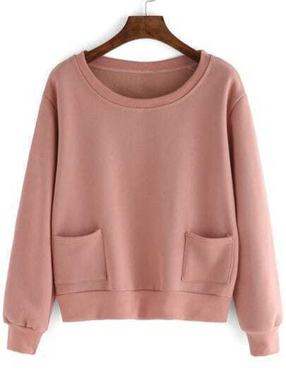 Pink Round Neck Pockets Crop Sweatshirt