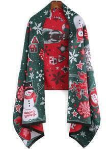 Green Red Snowman Print Scarve