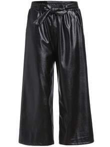 Black Belt Wide Leg PU Pant