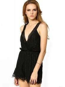 Black Sleeveless Backless Lace Jumpsuit