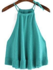 Blue Spaghetti Strap Sweater Cami Top