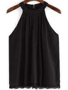 Black Lace Chiffon Loose Cami Top