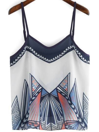 Colour Spaghetti Strap Geometric Print Cami Top
